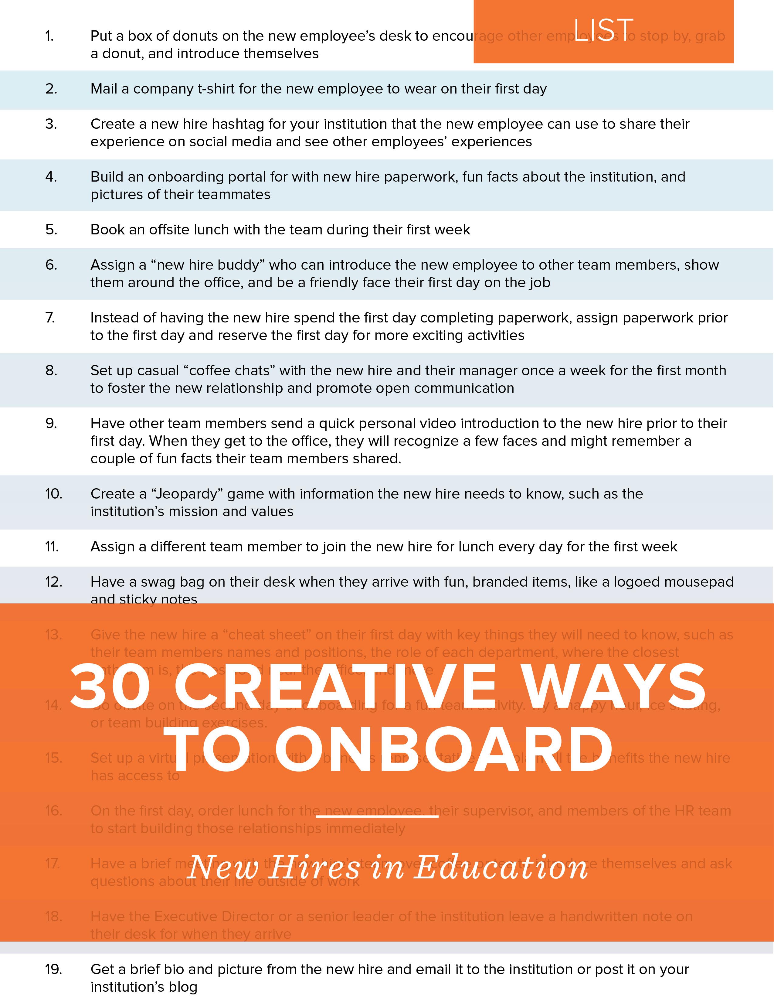 NEOED List - 30 Creative Ways to Onboard